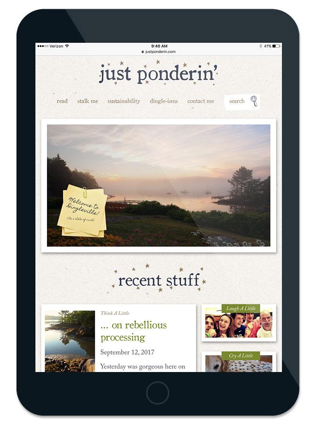 Just Ponderin' website ipad screen